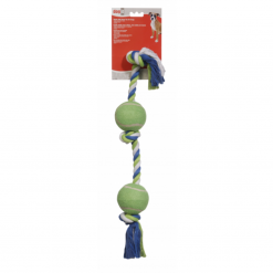 Tennis Ball Rope Toy with 2 Tennis Balls - 60cm - Dogit